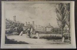 Barbentane - Lithographie De La Ville - Personnages - Signature L. Veray - Autres Communes