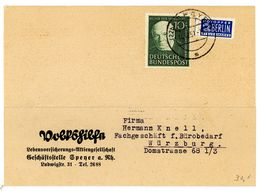 Nr. 144 EF 1952 Postkarte Nach Lichtenfels Michel 25 € - BRD
