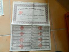 COMPAGNIE AGRICOLE D'ANNAM (VIET NAM EX INDOCHINE) TITRE DE CINQ ACTIONS DE 100 FRANCS AU PORTEUR 1927 - Asie