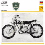 Fiche Photo Moto Bike Motorrad Deutschland Germany ALLEMAGNE ADLER 250 Motocross 1956 Edit Edito Service - Autres
