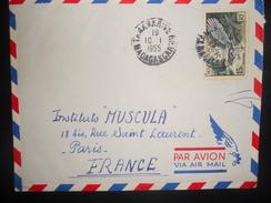 Madagascar , Lettre De Tananarive 1955 Pour Paris - Madagascar (1889-1960)