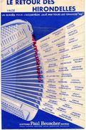 PARTITION MUSIQUE-LE RETOUR DES HIRONDELLES- VALSE ACCORDEON-BEUSCHER-PARIS-AIMABLE-MARCEL AZZOLA-LOUIS CORCHIA-DULEU - Scores & Partitions