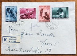 BAMBINI ALIMENTAZIONE SERIE YUGOSLAVIA 1939 SU BUSTA RACCOMANDATA DA LUBIANA A VIENNA IL 13/5/39 - Alimentazione