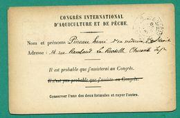 17 La Rochelle Congrés International D' Aquiculture Et Peche 1900 Pineau Henri Docteur ( Timbres Sage 10 Centimes ) - La Rochelle