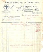 FACTURE 1926 IWAN DECLOUX & Cie A. NOTELAERS Succ. TOURCOING - PAINS D'ÉPICES DE VERVIERS - COUQUE ROYALE - Food