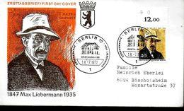 ALLEMAGNE  BERLIN  FDC 1972 Tableaux Max Liebermann - Art
