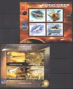 O523 PRIVATE ISSUE TCHAD, BENIN 2011 SPACE AVIATION CONCORDE 2KB MNH - Concorde