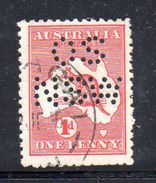 T495 - NEW SOUTH WALES  AUSTRALIA , Kangoroos  Servizio Perforato OS NSW  : Il 1 Pence  Fil  Crown On A Usato - 1850-1906 New South Wales
