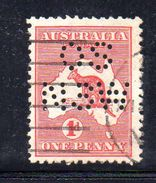 T1041 - NEW SOUTH WALES  AUSTRALIA , Kangoroos  Servizio Perforato OS NSW  : Il 1 Pence  Fil  Crown On A Usato - 1850-1906 New South Wales