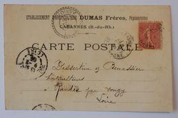 13 CARTE POSTALE CPA 1906 CIRCULÉ PUBLICITÉ CABANNES DUMAS FRÈRES PÉPINIÉRISTES - Otros Municipios