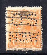 T1174 - NEW SOUTH WALES  AUSTRALIA , Head  Servizio Perforato OS NSW  : Il 4  Pence  Fil  Crown On A Usato - 1850-1906 New South Wales