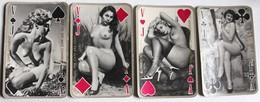 4 Cartes à Jouer érotique Vintage Carré De Valet Pin Up Nue Femme Années 60-70 - Cartes à Jouer