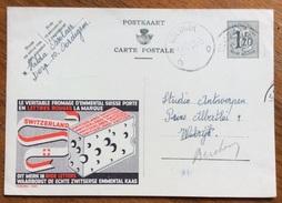 ALIMENTARI FORMAGGI SVIZZERI BELGIO BELGIQUE INTERO POSTALE PUBBLICITARIO 1954 - Alimentazione