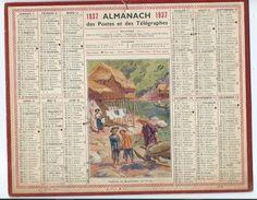 Indochine Calendrier 1937 Bien 3pages Au Dos Postes Française 2 Scans 265 X 210 Mm Pêcheurs Au Haut Tonkin Lac Bâ-Bé - Petit Format : 1921-40