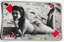 Carte à Jouer érotique Vintage As De Carreau Pin Up Nue - Autres