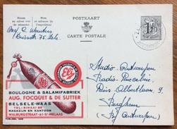 ALIMENTARI SALUMI MORTADELLA  BOLOGNA  ELI  BOULOGNE & SALAMIFABBRIEK  BELGIO BELGIQUE INTERO POSTALE PUBBLICITARIO 1954 - Alimentazione