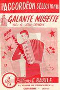 59-CAMBRAI-RARE PARTITION MUSIQUE-ACCORDEON GALANTE MUSETTE-GINO CONGIN-EDITIONS E. BASILE 61 AV.VALENCIENNES-1958 - Scores & Partitions