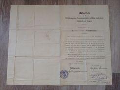 Dokument Urkunde Verleihung Einer Privatgrabstätte Auf Dem Städtischen Kirchhofe Zu Eupen 1916 Mit Siegel - Todesanzeige