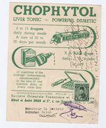 1950s EGYPT Illus ADVERT COVER Card CHOPHYTOL LIVER TONIC Illus MEDICINE BOX OF SYRINGE Pharmacy Health Stamps - Pharmacy