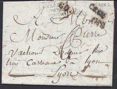 """FR - Lettre Du 18 Avril 1819 De Beaufort Pour Lyon - Marque """"CONFLANS"""" Cachet D'entrée Italie Par Le Pont De Beauvoisin. - Storia Postale"""