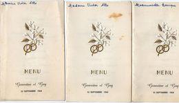 VP11.157 - Ancien Menu De 1964 X 3 - Mariage De Geneviève & Guy ?? ( Famille LE DUIGOU X ALLO ) - Menus