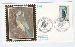 1973 ANDORRA French SILK FDC Stamps BLUE TIT Bird Cover Birds - Songbirds & Tree Dwellers