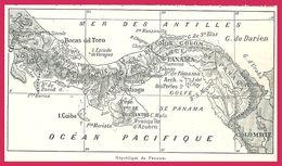 Carte De Panama Larousse 1907 - Vieux Papiers