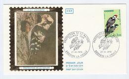 1973 ANDORRA French SILK FDC Stamps WOODPECKER Bird Cover Birds - Climbing Birds