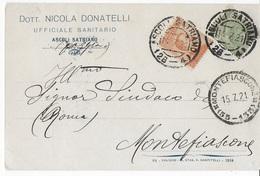 STORIA POSTALE REGNO - ANNULLO FRAZIONARIO ASCOLI SATRIANO(FG)+ MONTEFIASCONE(RM) 55-135 SU CARTOLINA INTESTATA 11.07.21 - 1900-44 Victor Emmanuel III