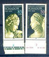 S211- EAST GERMANY 1989 Mi 3250-51 225th Birthday Of Johann Gottfried Schadow. - Germany