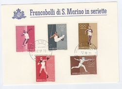 1970 SAN MARINO  COVER Special Card 1960 ROME OLYMPIC BOXING FENCING GYMNASTIC ATHLETICS Stamps Olympics Games Sport - San Marino