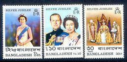 S242- Bangladesh 1977 MNH S.G 93-95 Silver Jubilee Of Coronation Of Queen Elizabeth II, Royal, Royalty - Bangladesh