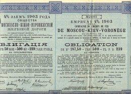 RUSSIE / RUSSIA / COMPAGNIE DU CHEMIN DE FER DE MOSCOU - KIEV - VORONEGE 1903 - Russie
