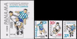 Soccer Football  Panama #1626/8 + Bl 124 1986 World Cup Mexico MNH ** - Coupe Du Monde