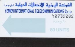 Yemen, YE-TLY-0003B, 80 Units, Light Blue Arrow, 2 Scans   Darker Blue Writings - Yemen