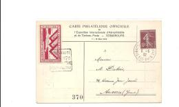 Carte Exposition Philatelique Aerophilatelie Strabourg 1932 Vignette Et Semeuse - Storia Postale