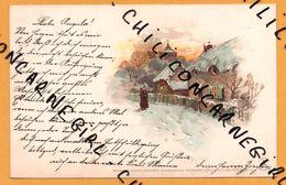 Lithographie - Paysage - Hiver - Village - Coucher Soleil - Doré - WINKLER & SCHORN - SERIE X GES GESCHUTZ - Duitsland