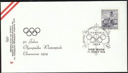 Austria Vienna 1974 / Olympic Games Chamonix 1924 , 50 Years / Cancel No. 1 - Winter 1924: Chamonix