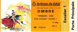 Billet De Corrida Du 08/07/1990 Arènes De DAX - Scans Recto-verso - Tickets - Vouchers