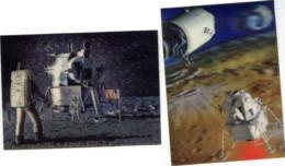 LOT De 2 Cartes Postales - LUNAR Module Et Landing 3D Relief Lenticular Hologramme - Astronomy