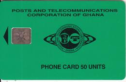 GHANA - Telecom Logo(green Backround) 50 Units, Chip SC5, CN : C57101006, 08/95, Used - Ghana