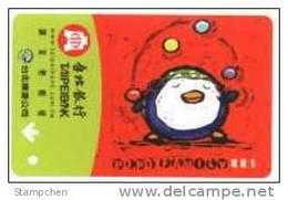 Taiwan Early Taipei Rapid Transit Train Ticket MRT Bird Acrobat Cartoon (AD Of Taipei Bank) - Tram