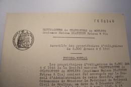 MOULINS  ( Allier )  -- MANUFACTURE DE CHAUSSURES DE  MOULINS  -- Assemblée Des Propriétaires D'obligations - Altri