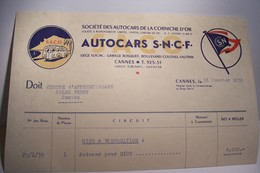 CANNES  -- SOCIETE  DES  AUTOCARS  DE  LA  CORNICHE D'OR - AUTOCARS  S.N.C.F. 1959 - Transports