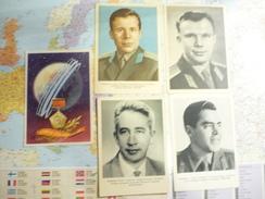 Conquête De L'Espece 5 Cartes De Cosmonautes Et Anniversaire Vol Gagarine - Astronomy