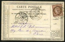 SEINE : Carte Précurseur Avec 10c  CERES Dentelé Oblt Cà Date Type 84 PARIS 9 R. MONTAIGNE Utilisation Tardive - Entiers Postaux