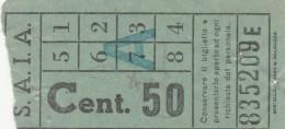 BIGLIETTO SAIA CENTESIMI 50 (UB113 - Europa