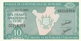 BURUNDI 10 FRANCS -UNC - Burundi