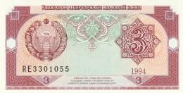 UZBEKISTAN 3 SOM (2) -UNC - Uzbekistan