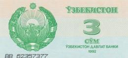 UZBEKISTAN 3 SOM -UNC - Uzbekistan